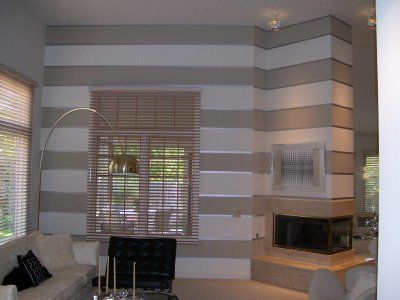 I'm kinda feeling horizontal striped walls...especially with the touch of shine.  Hmmm #graystripedwalls