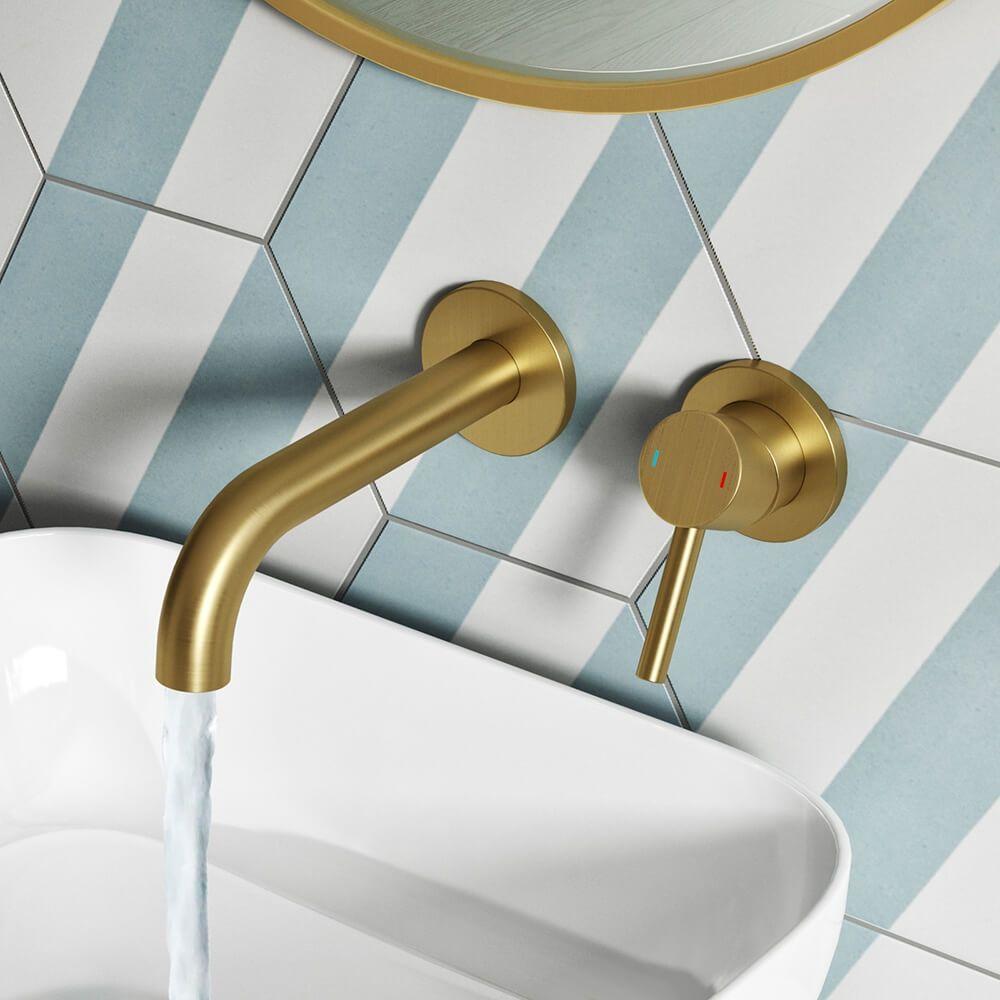 Vellamo Twist Brushed Brass Wall Mounted Basin Mixer In 2020 Wall Mounted Basins Wall Mounted Bath Taps Basin Mixer