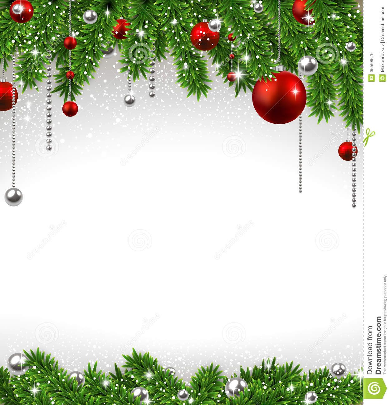 Christmas Background With Fir Branches And Balls. Royalty