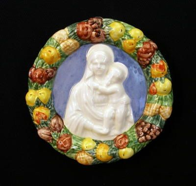 Della Robbia Italian Ceramic Plaque.  I was so lucky and found one at a thrift store for five dollars!