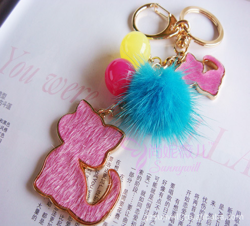 Horsehair Jelly Beads Cat Key Chain with Pompom - Gift Ideas Guess You Like It