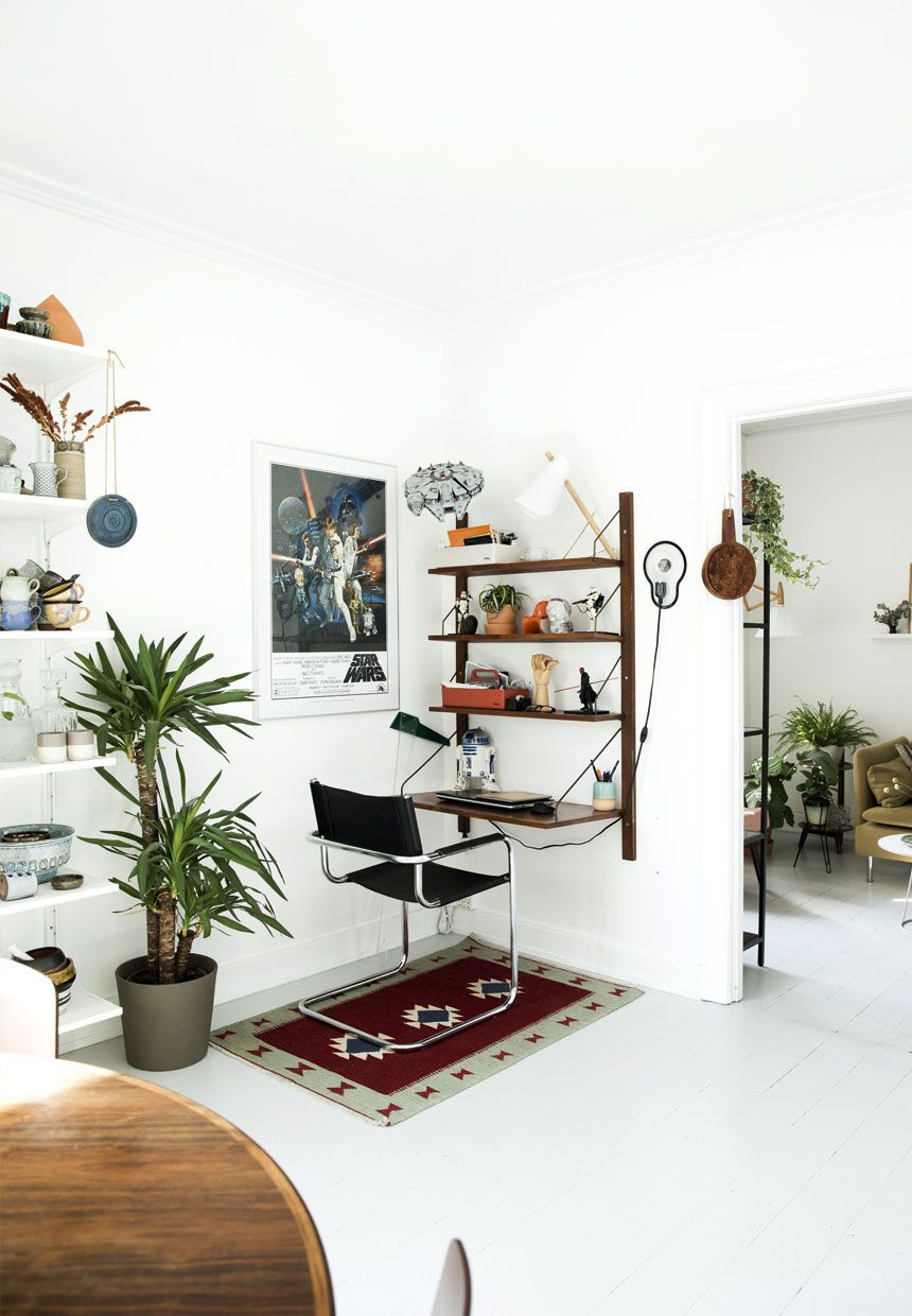 Workspace, Cado Cadovious Shelf, Midcentury Modern, Ethnic Rug,  Houseplants, Star Wars