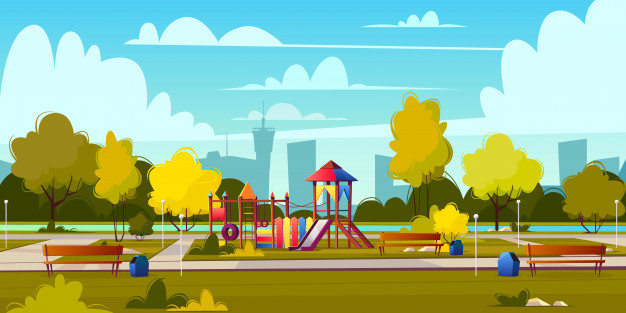 Download Vector Background Of Cartoon Playground In Park At Summer Landscape With Green Trees Plants And Bu For Free Vector De Fondo Arboles Verdes Vectores Gratis