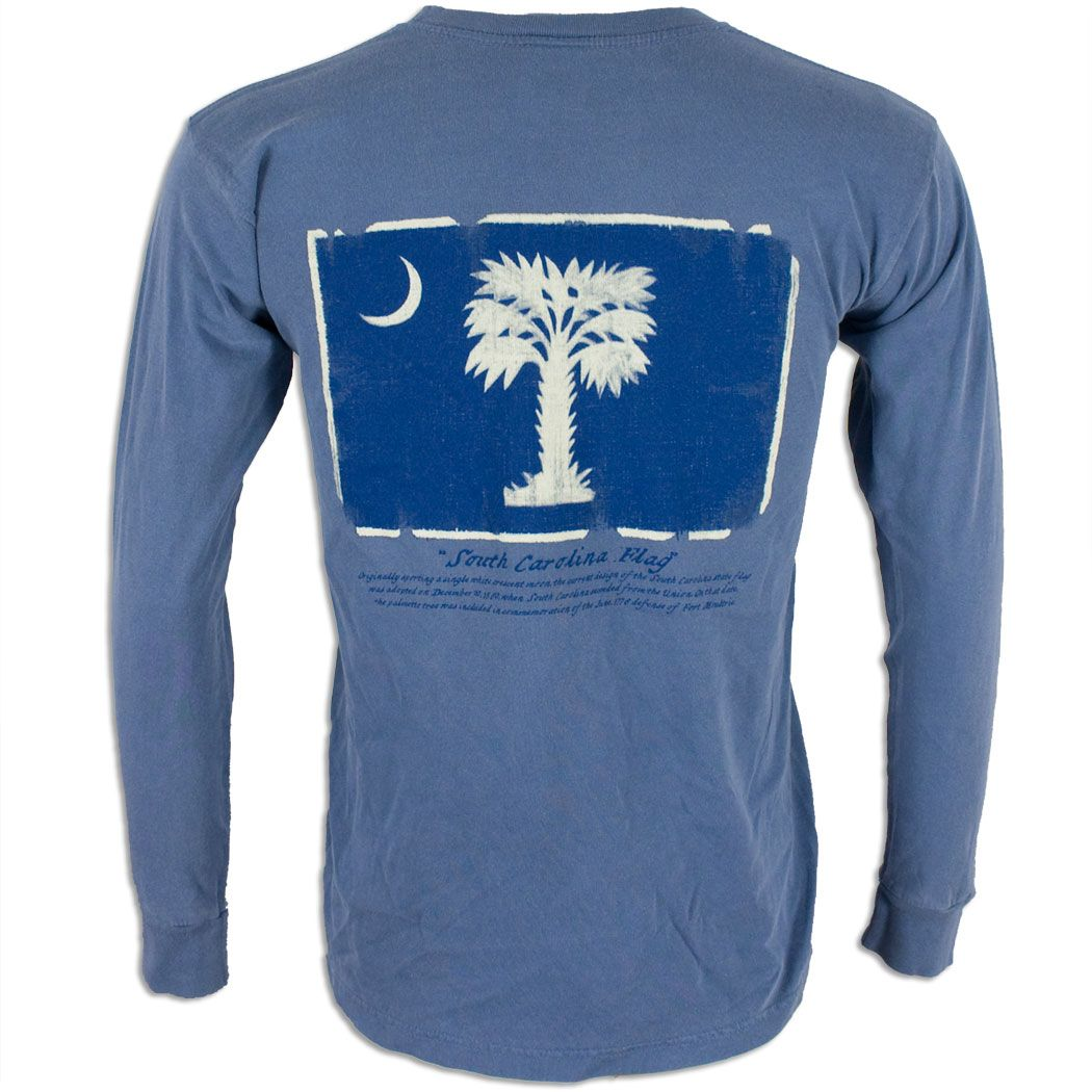 Palmetto Blue Palm Tree Flag Long Sleeve T Shirt For A Lazy Day At