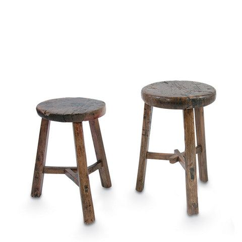 Small Brown Elm Wood Antique Round Stool 165 Furniture