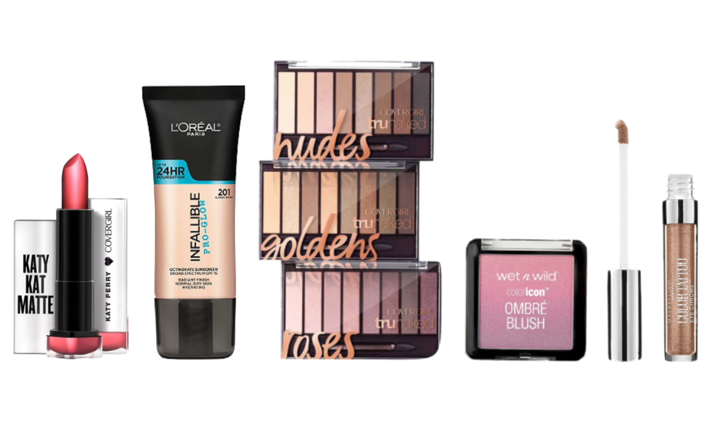 We review Maybelline Color Tattoo cream shadow, L'Oreal Glow Foundation, Katy Kat Lipstick, Covergirl Nudes palettes, and more.