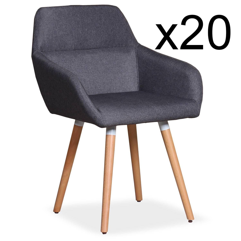 un lot de 20 fauteuils scandinaves gris