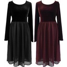 £42.99 BLACK BURGUNDY VELVET GOTHIC WENCH GHOST FITTED TOP ZIP DRESS 14-24