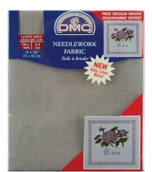 "DMC Aida Linen Needlework Fabric 14 Count 14""X18''DMC Aida Linen Needlework Fabric 14 Count 14""X18'',"
