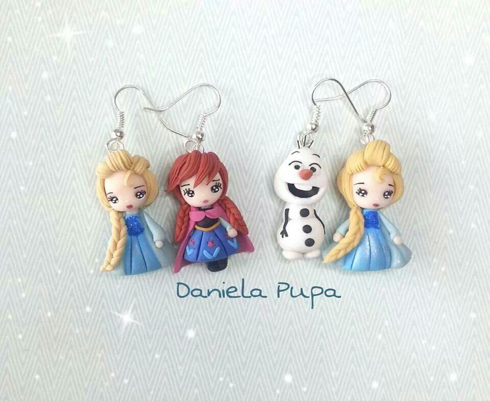 Frozen Clay Figure Earrings Anna Elsa Olaf