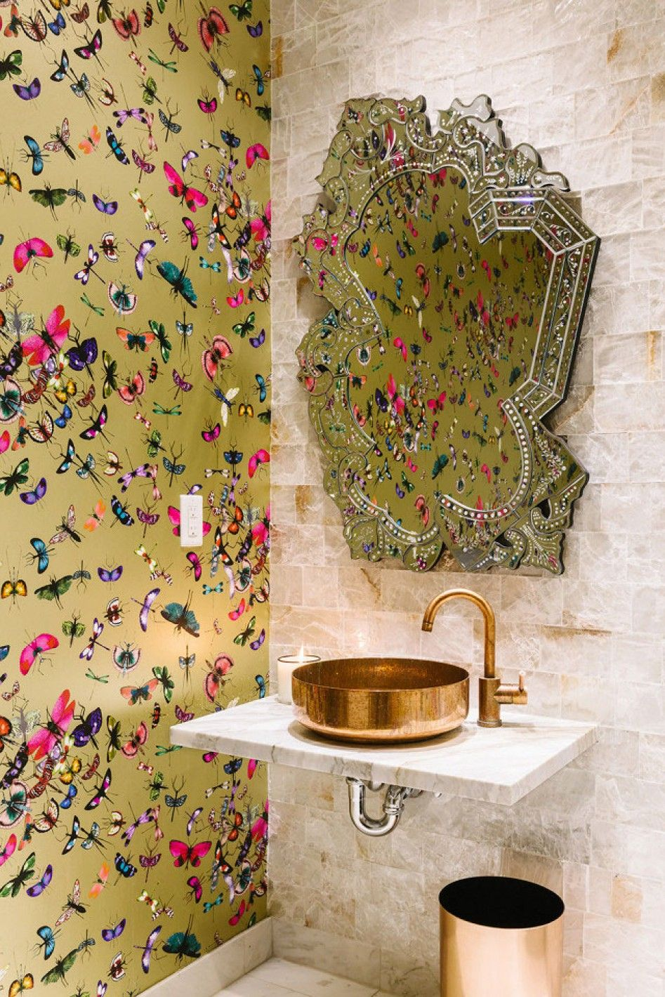 """The Bollare offices are inspired by the Christian Lacroix wallpapers -- Mariposa"""" Wallpaper - © Julia Robbs"""
