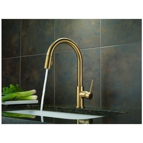 Delta 9159 CZ DST Trinsic Single Handle Pull Down Kitchen Faucet In Champagne  Bronze