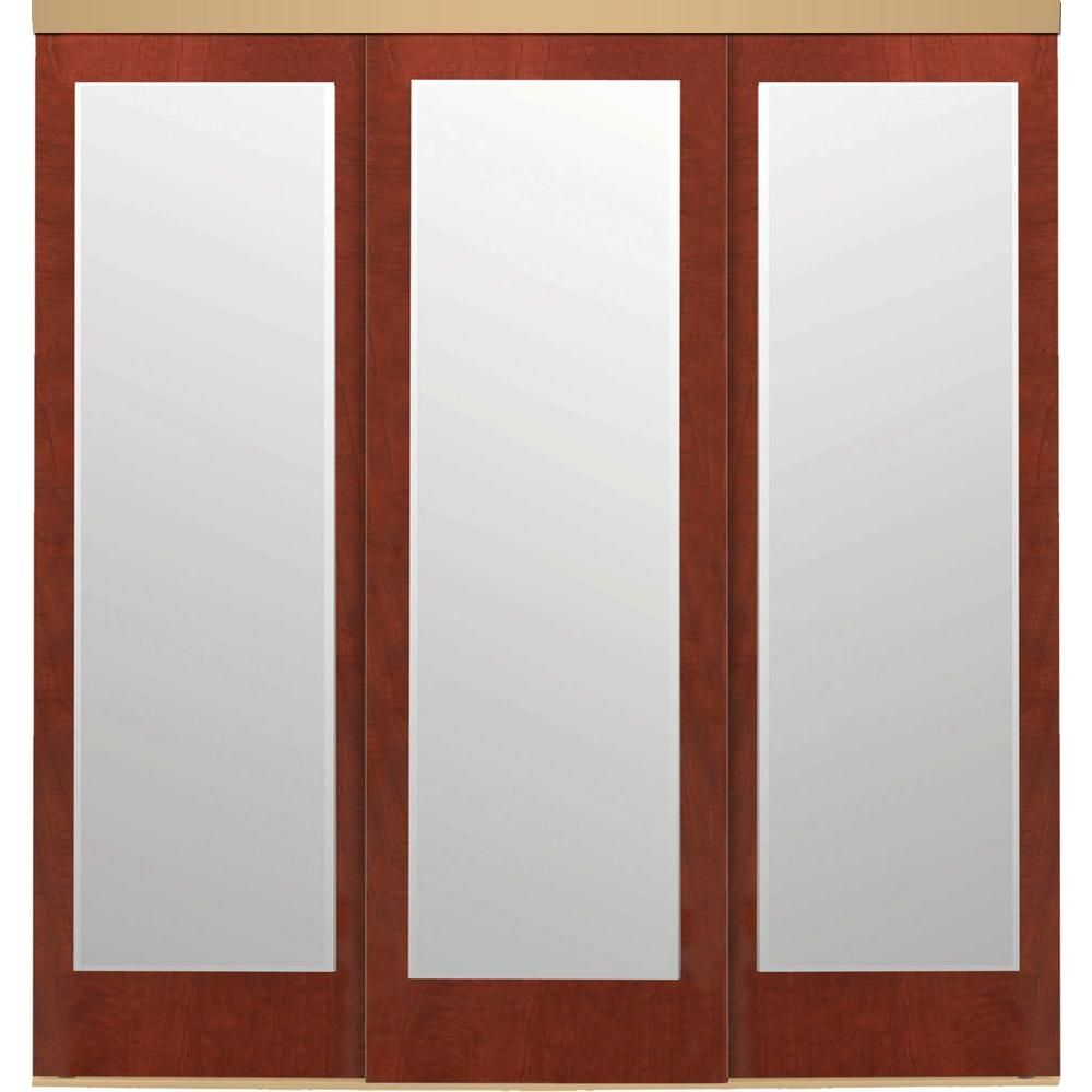 Impact Plus 108 In X 80 In Mir Mel Mirror Cherry Solid Core Mdf Interior Closet Sliding Door With Gold Trim Smm9068cmw The Home Bedroom Remodel Close
