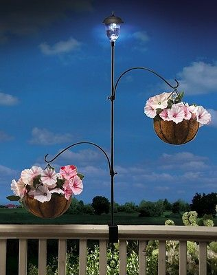Adjustable Solar Powered Lantern And Plant Hanger For Deck Railing ~NEW~