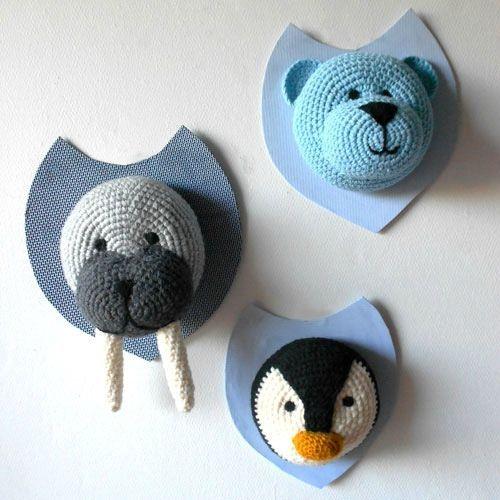 walrus and penguin faux crochet taxidermy pinterest