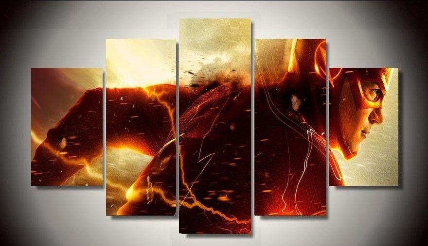 5 Panels 5 Panels The Flash Canvas Art Framed Poster Print Canvas Art Multi Piece Movie Wall Art Customized Canvas Art Art Wall Kids