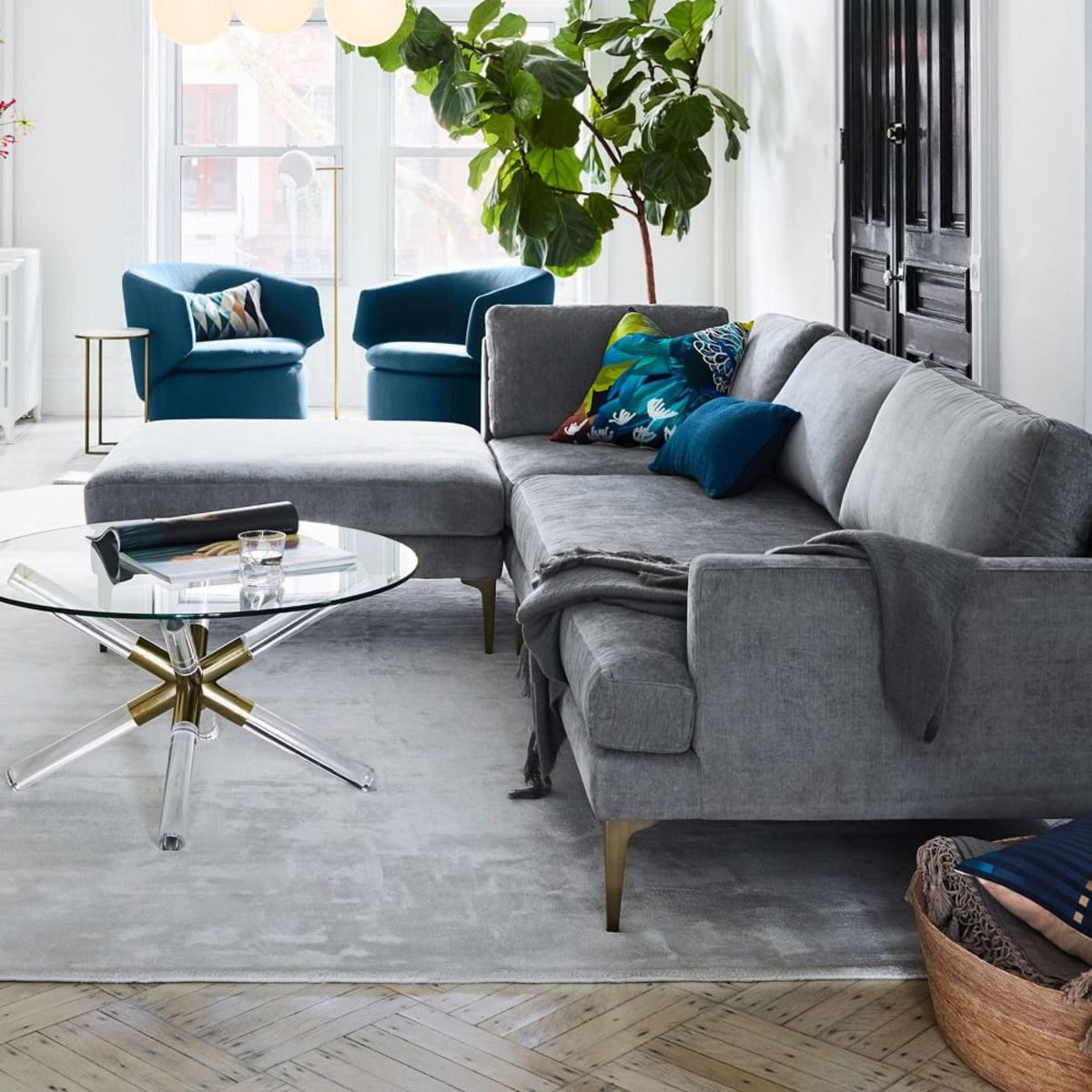 Andes 3 Piece Chaise Sectional Metal Distressed Velvet West Elm Uk West Elm Living Room Sectional Sofa Modern Sofa Sectional