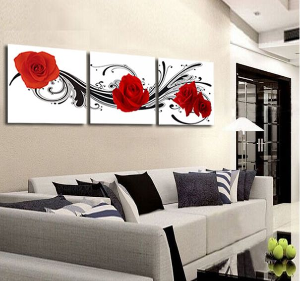Flower Red Rose Painting 3 Panel Wall Art Canvas Wall Pictures for ...
