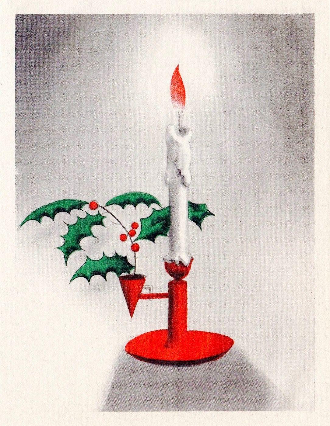 1950\'s Christmas Card. Christmas Candle. Vintage Christmas Card ...