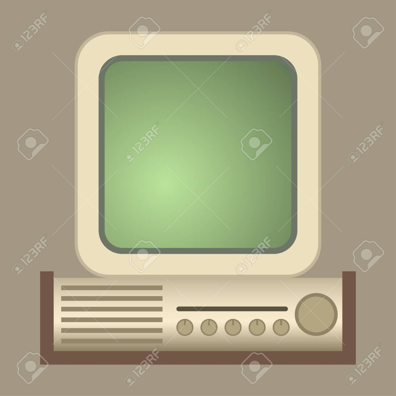 Retro Computer Vector Old Classic Antique Technology Business Personal Equipment In 2020 Computers Tablets And Accessories Computers For Sale Computer Vector