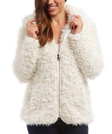 Look at this #zulilyfind! Cream Faux Fur Hooded Zip-Up Jacket #zulilyfinds