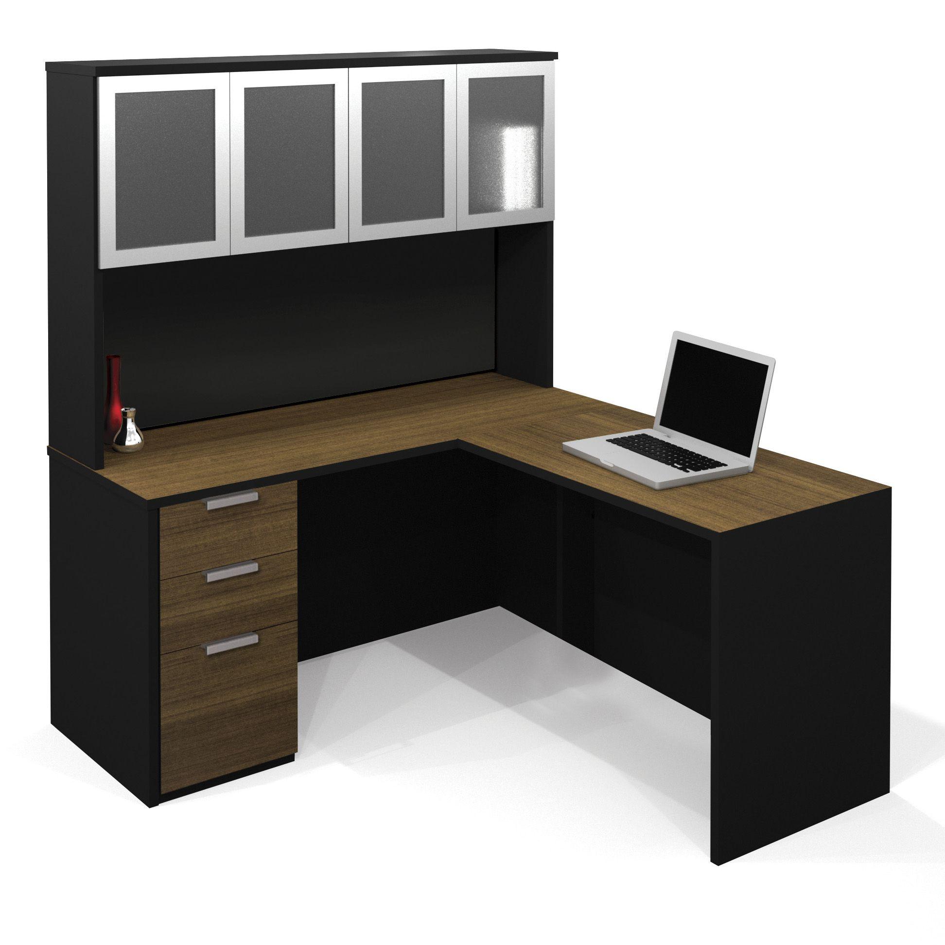 Elegant For Home Office: Corner Desk With Hutch For Modern Home Office Design