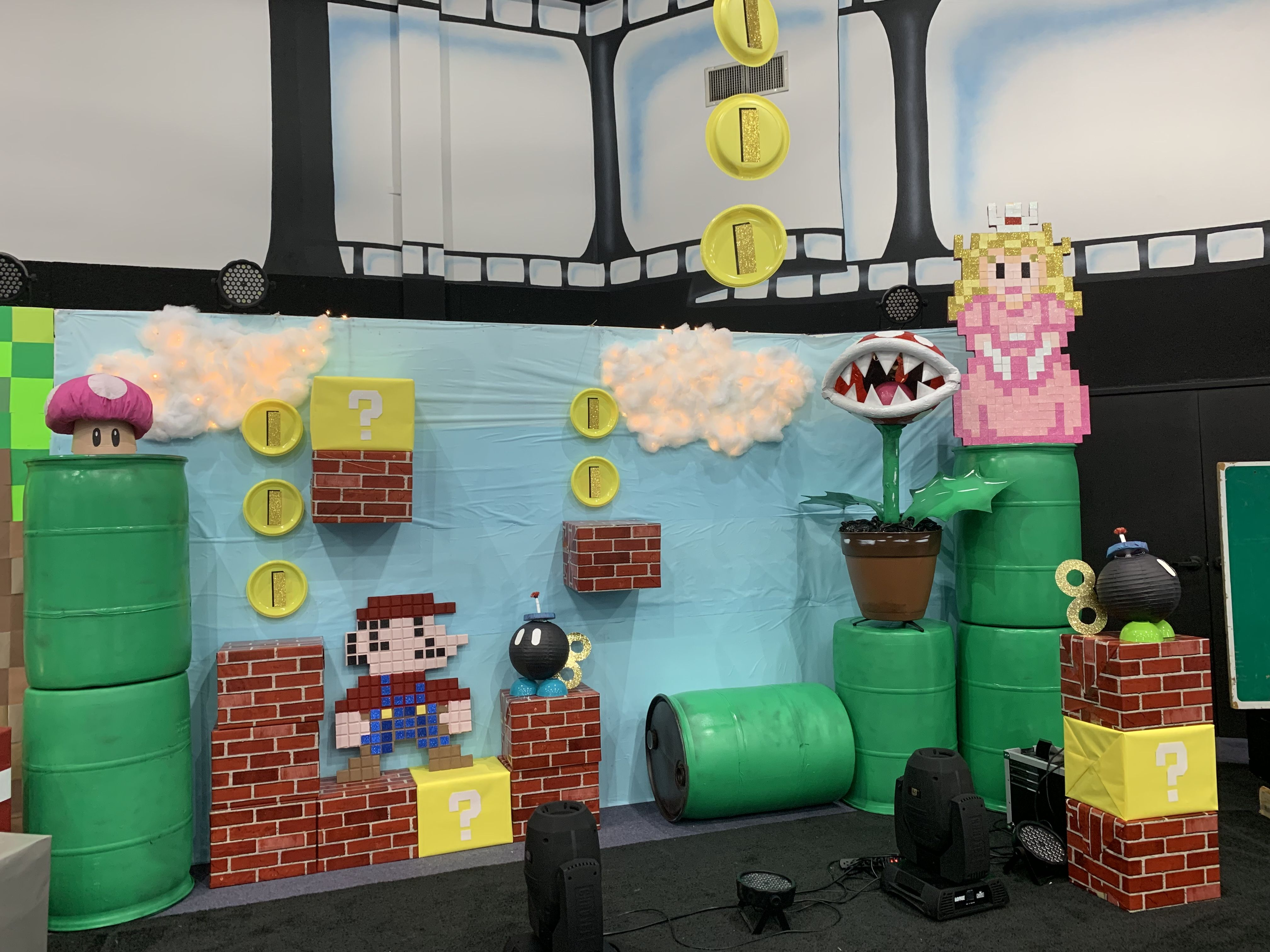 Our Vbs Power Up Mario Brothers Scene And Backdrop Freedom Church Texas Super Mario Birthday Party Mario Birthday Party Halloween Camping