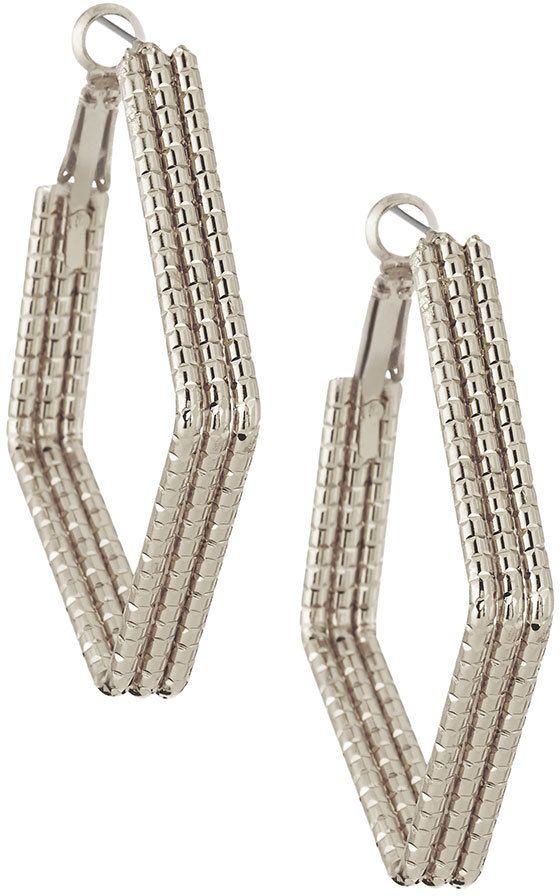 Panacea Segmented Diamond-Shaped Hoop Earrings, Silver
