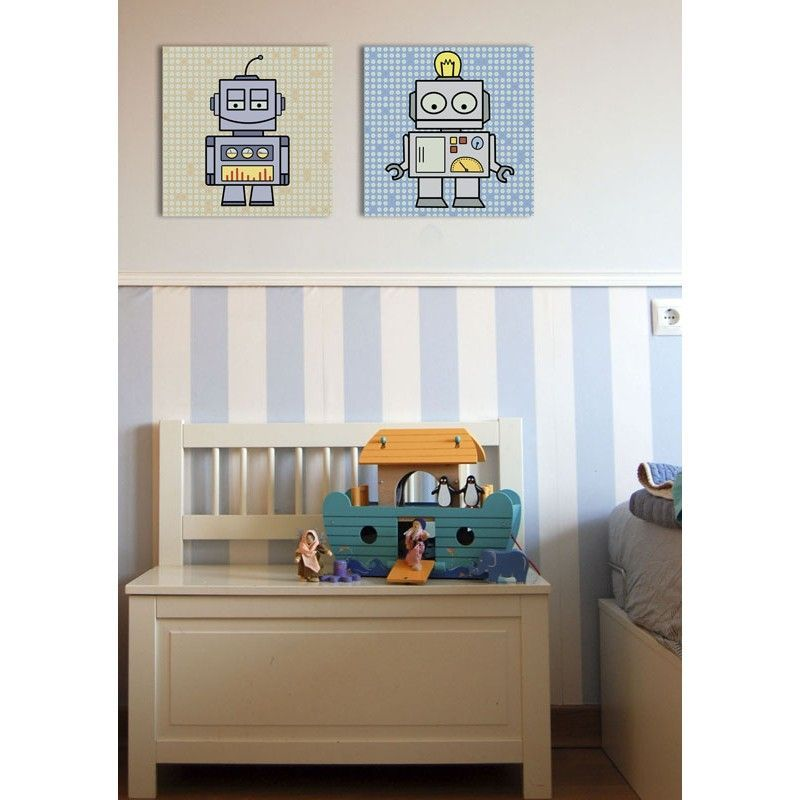 Cuadro infantil robot para decoraci n de habitaciones de - Habitaciones de ninos decoracion ...