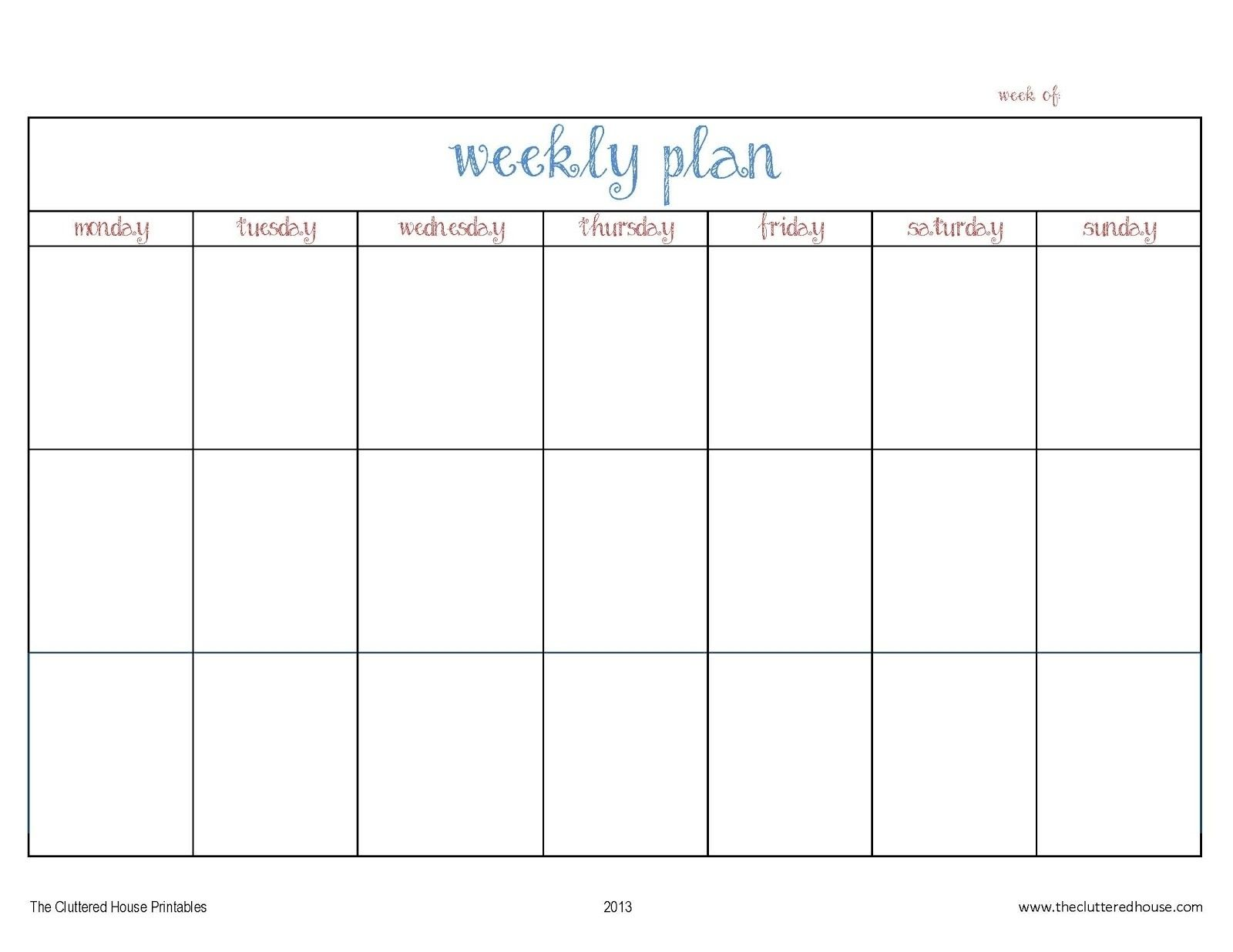 photo relating to Blank Planner identify 7 Working day Weekly Planner Template Printable Template Calendar
