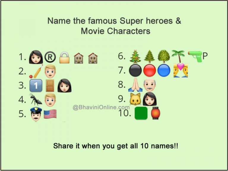 Whatsapp Emoticon Riddle Guess The Names Of The Famous Super Heroes And Movie Characters In 2020 Movie Characters Riddles Emoji Movie