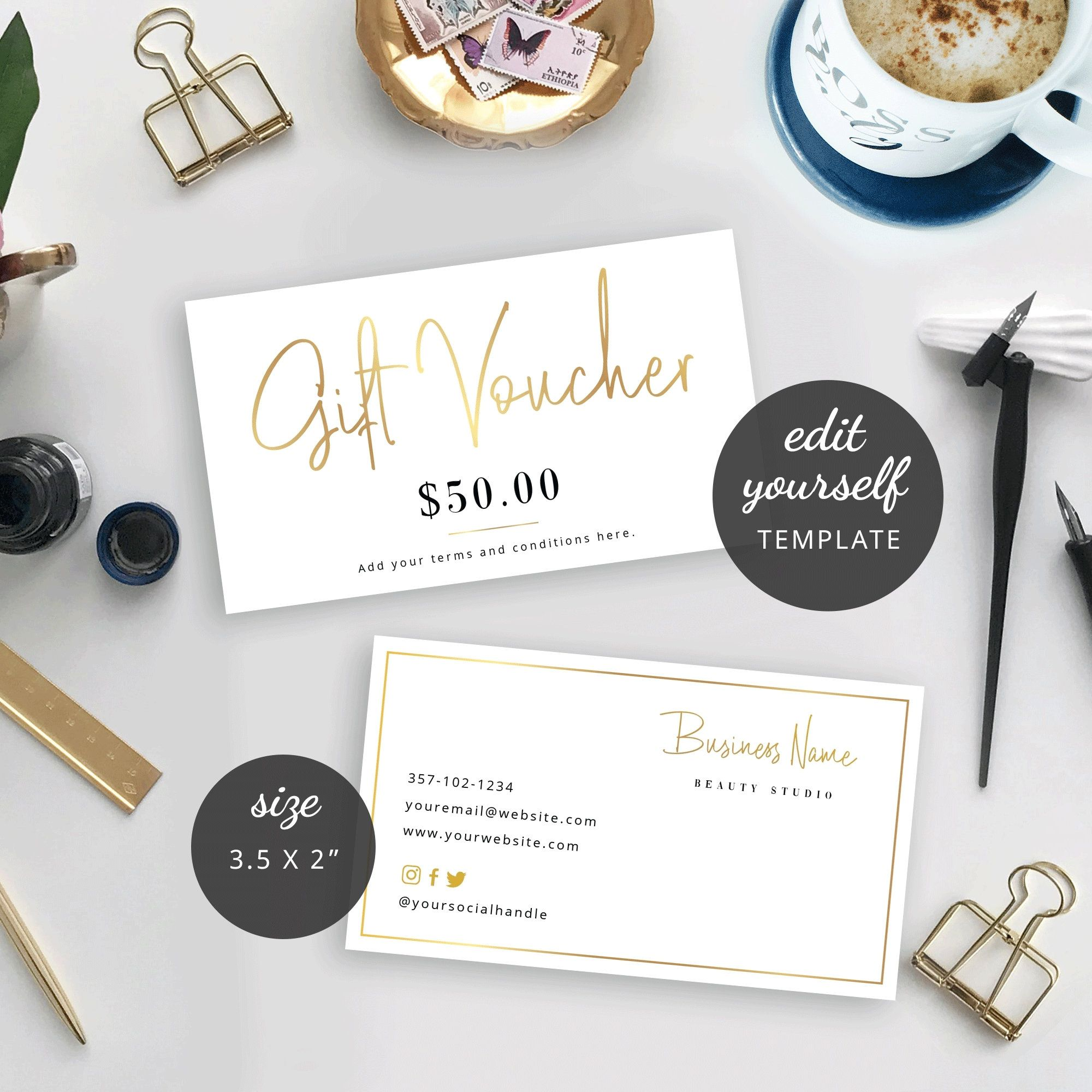 Mini Faux Gold Gift Voucher Template Editable Gift Card Etsy Photography Invoice Template Gift Card Template Gift Certificate Template