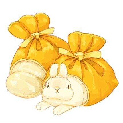 餅巾着 うさ巾着 ウサギのイラストキュートなアートうさぎ