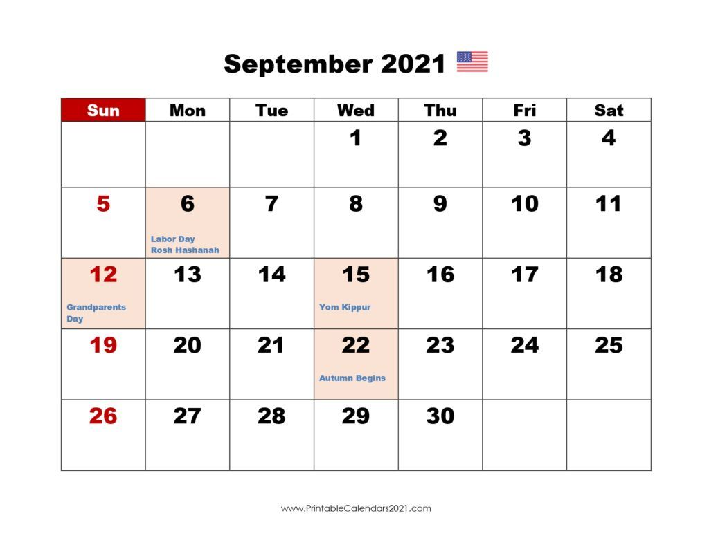Printable Calendar September 2021, Printable 2021 Calendar with