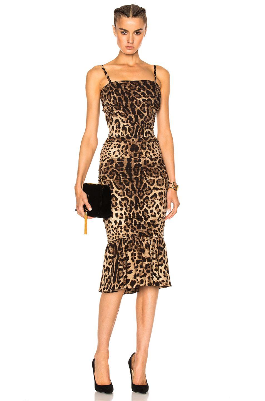 a8d1f3950f Dolce   Gabbana Cady Stretch Leopard Print Dress in Natural