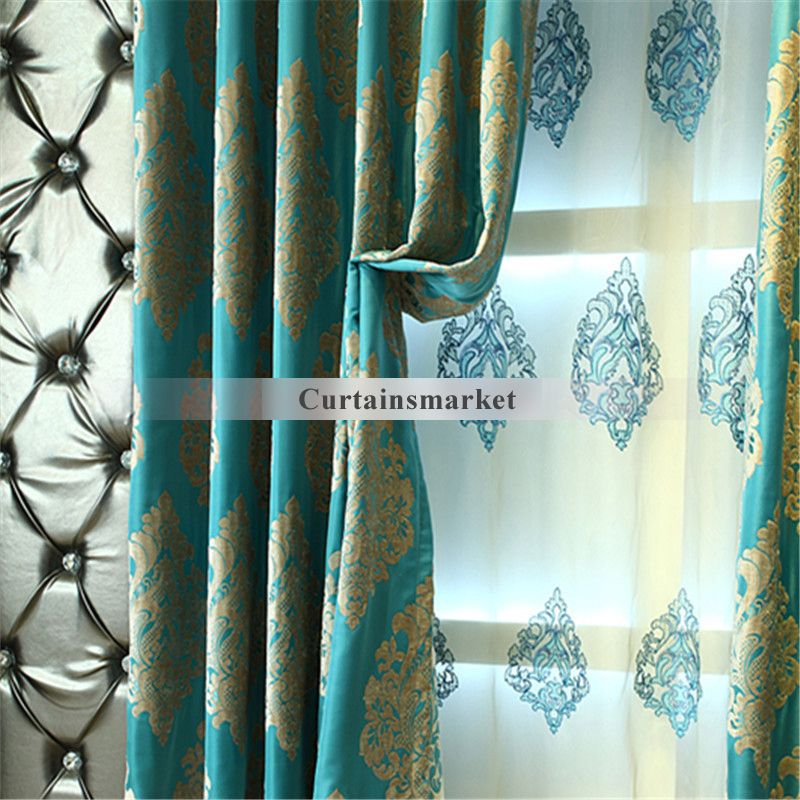 Classic Chenille Jacquard Craftsmanship Bright Blue Curtains