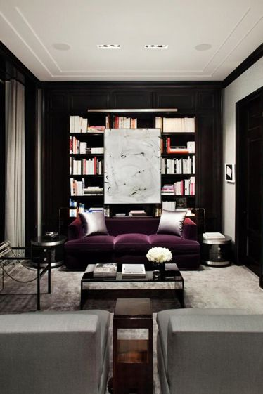 black bookcase + floating art + plush purple sofa | via High-Impact Design ~ Cityhaüs Design