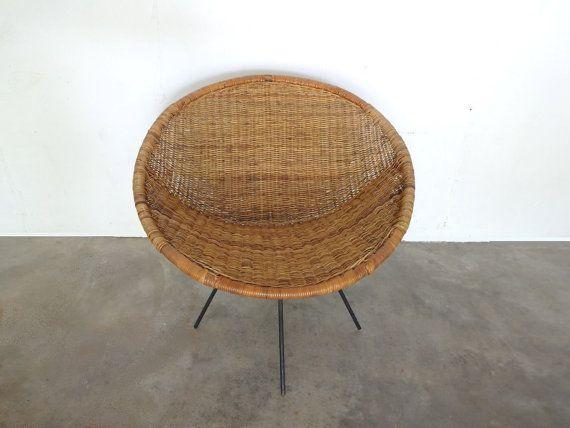 Midcentury Swivel Rattan Hoop Chair Rattan Iron And