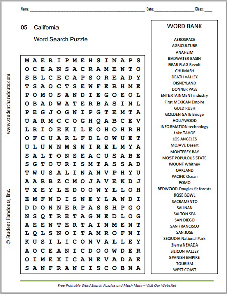 California Word Search Puzzle - Free to print (PDF file). Covers ...