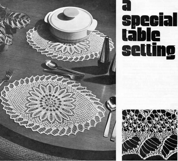 Vintage knitted doily knitting pattern pdf knitted lace table setting doilies place mats 12x16 inch crochet cotton Instant Download #pictureplacemeant