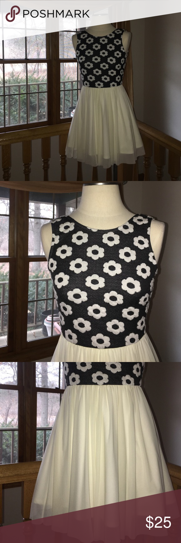 The Vintage Shop Silky Black And Cream Dress Stretchy Dress Cream Dress Dresses [ 1740 x 580 Pixel ]