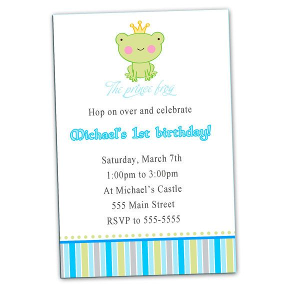 Frog birthday invitation card prince custom any age or color 1st frog birthday invitation card prince custom any age or color 1st birthday party or baby boy shower invite printable personalized filmwisefo Images