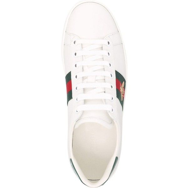 622b18e6d04 GUCCI New Ace bee-embroidered leather trainers (365.630 CLP) ❤ liked on  Polyvore featuring shoes