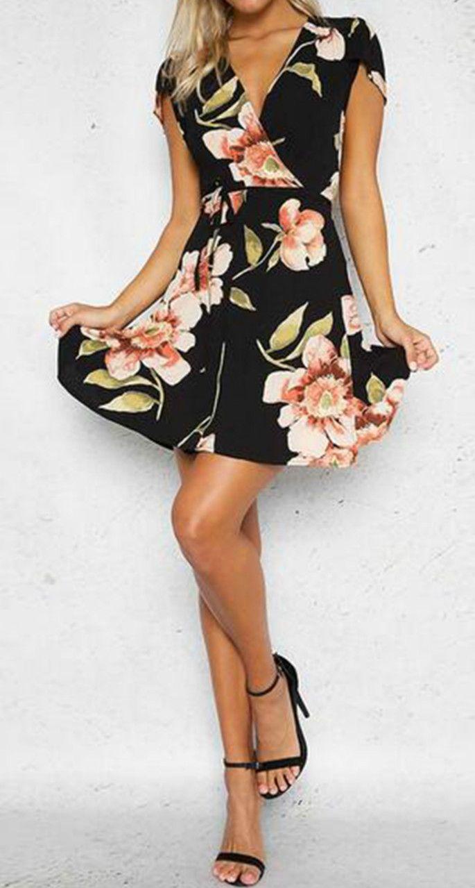 V neck short sleeve floral print mini dress my style pinterest