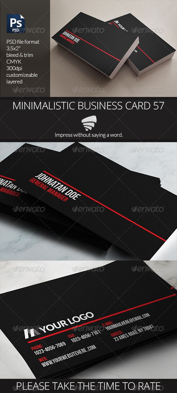 minimalistic business card 57 graphicriver - 57 Business Card Word Template Useful
