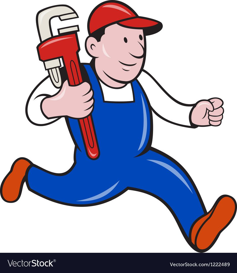 Plumber With Monkey Wrench Cartoon Royalty Free Vector Image Affiliate Wrench Cartoon Plumber Monkey Ad