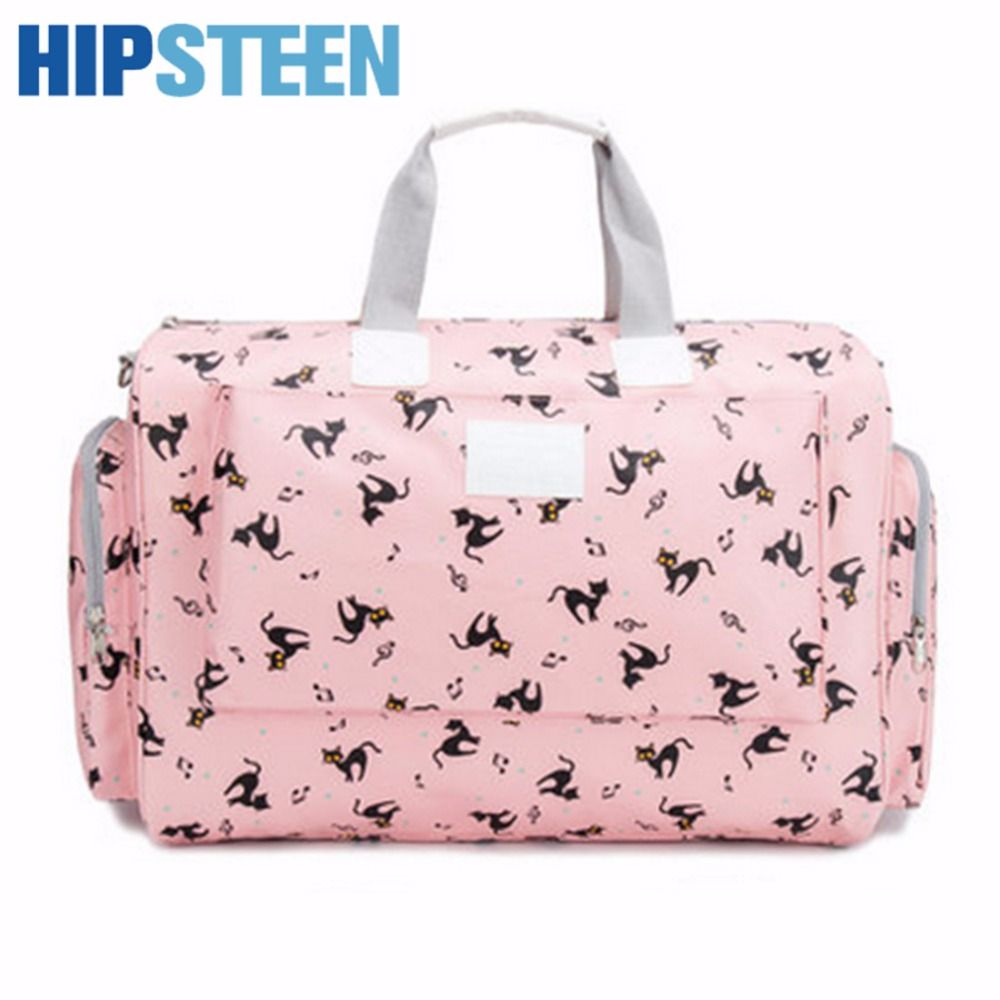 45575567c5a3 HIPSTEEN 2017 Big Foldable Women Travel Bags Large Capacity Nubuck Leather  Cute Cat Ladies Travel Duffle Hand Bag Pink-in Travel Bags from Luggage   Bags  on ...