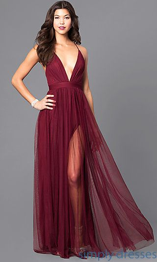 Long Formal V-neck Prom Gown with Open Back | Life Plans | Pinterest ...