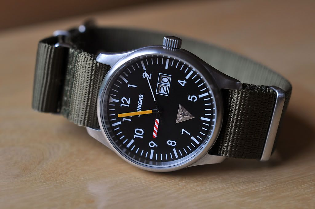 Junkers Watch on Olive Green nato strap