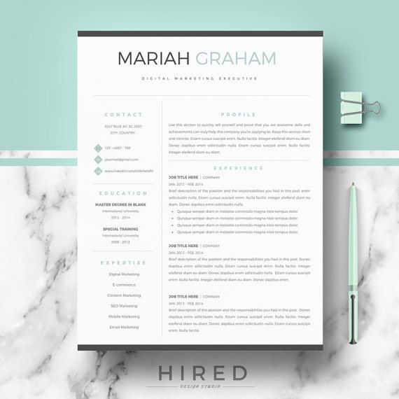 Professional Resume Template For Word & Pages, Modern